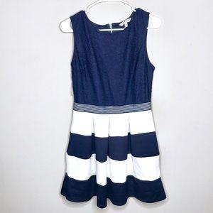 Speechless Navy Blue White Striped Dress